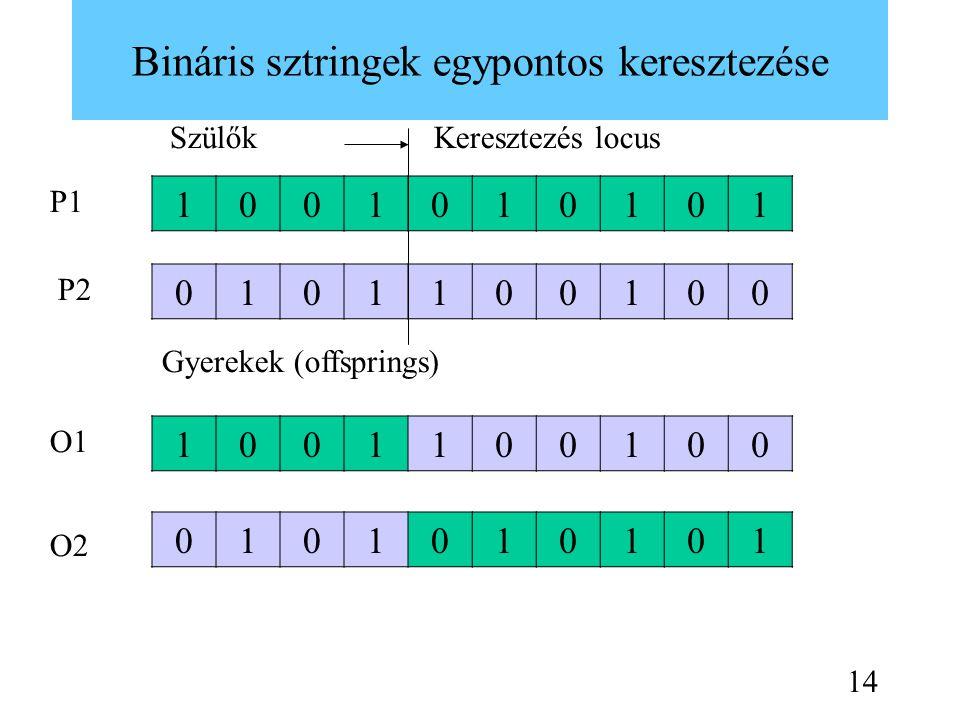Bináris sztringek egypontos keresztezése 1001010101 0101100100 1001100100 0101010101 Keresztezés locusSzülők Gyerekek (offsprings) P1 P2 O1 O2 14
