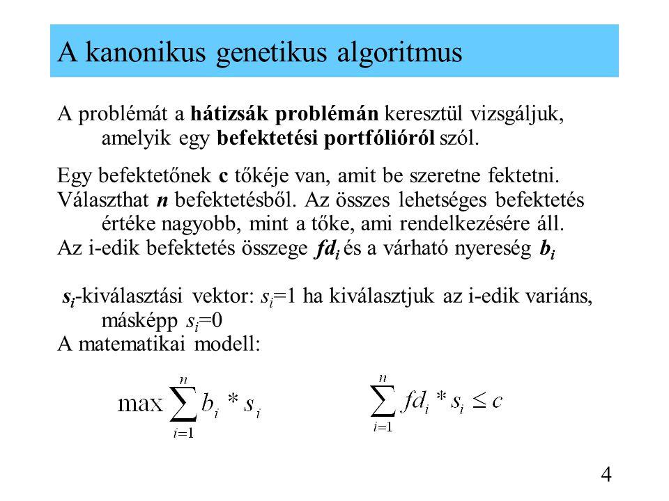 Bináris sztringek kétpontos keresztezése 1001010101 0101100100 1001100101 0101010100 Keresztezés locusok Szülők Gyerekek (offsprings) P1 P2 O1 O2 15