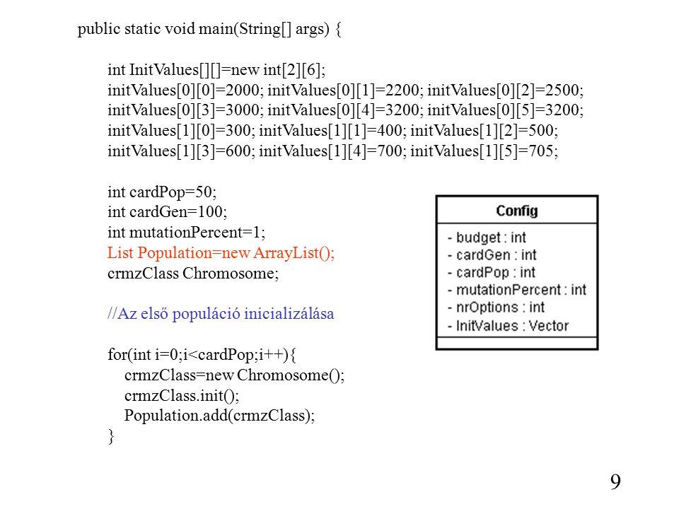 for(int i=0;i<cardPop;i++){ //fitness kiszámítása int sumFitness=0; for(int j=0;j<Population.size();j++){ ((Chromosome)Population.get(j)).calcFitness(initValues); sumFitness=sumFitness+((Chromosome)Population.get(j)).getFitnessValue(); ((Chromosome)Population.get(j)).set ScaledFitness(sumFitness) //eredmények skálázása } //kiválasztás //keresztezés //mutáció //reprodukció } P1={0101110011} P2={1001100101} O1={0101100101} O2={1001110011} 10