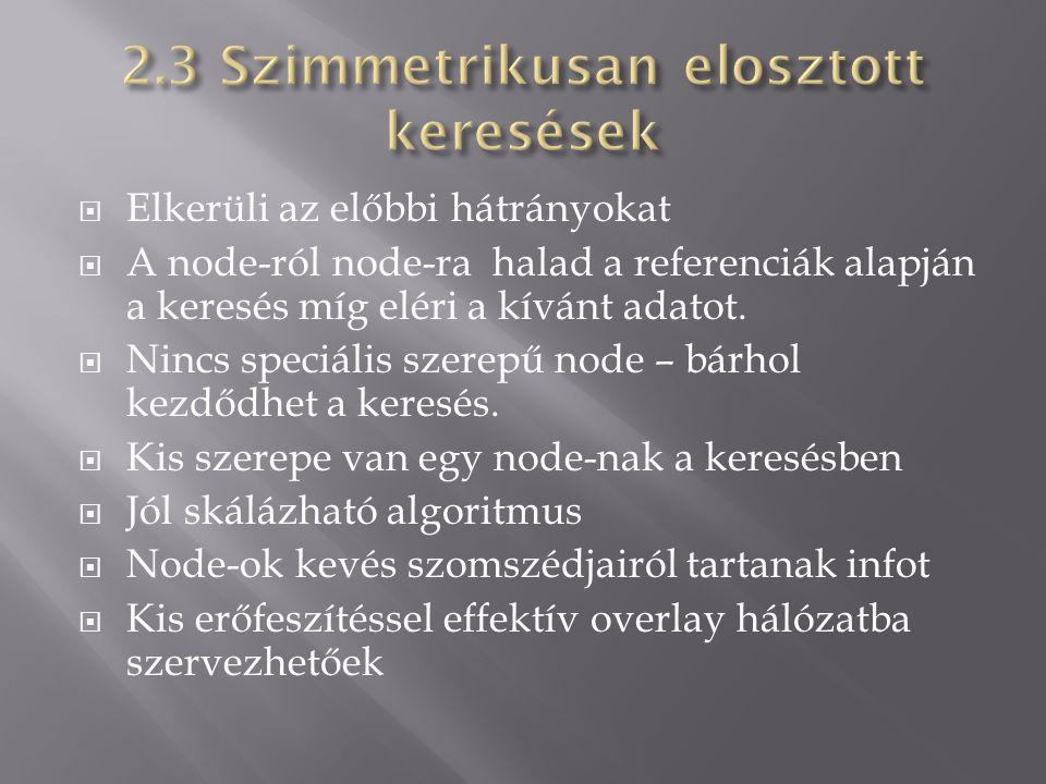  Elkerüli az előbbi hátrányokat  A node-ról node-ra halad a referenciák alapján a keresés míg eléri a kívánt adatot.  Nincs speciális szerepű node