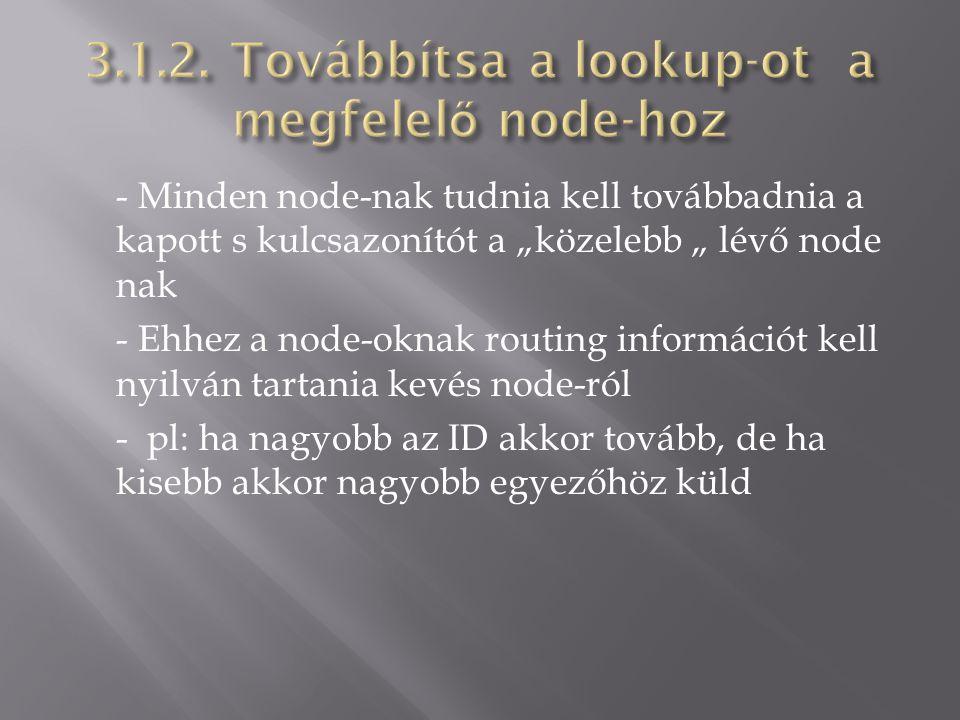 """- Minden node-nak tudnia kell továbbadnia a kapott s kulcsazonítót a """"közelebb """" lévő node nak - Ehhez a node-oknak routing információt kell nyilván t"""
