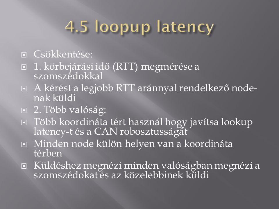  Csökkentése:  1. körbejárási idő (RTT) megmérése a szomszédokkal  A kérést a legjobb RTT aránnyal rendelkező node- nak küldi  2. Több valóság: 