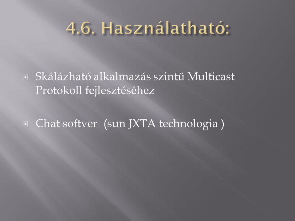  Skálázható alkalmazás szintű Multicast Protokoll fejlesztéséhez  Chat softver (sun JXTA technologia )