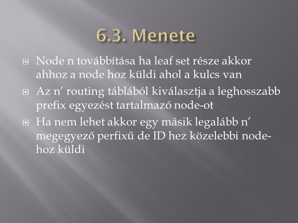  Node n továbbítása ha leaf set része akkor ahhoz a node hoz küldi ahol a kulcs van  Az n' routing táblából kiválasztja a leghosszabb prefix egyezést tartalmazó node-ot  Ha nem lehet akkor egy másik legalább n' megegyező perfixű de ID hez közelebbi node- hoz küldi