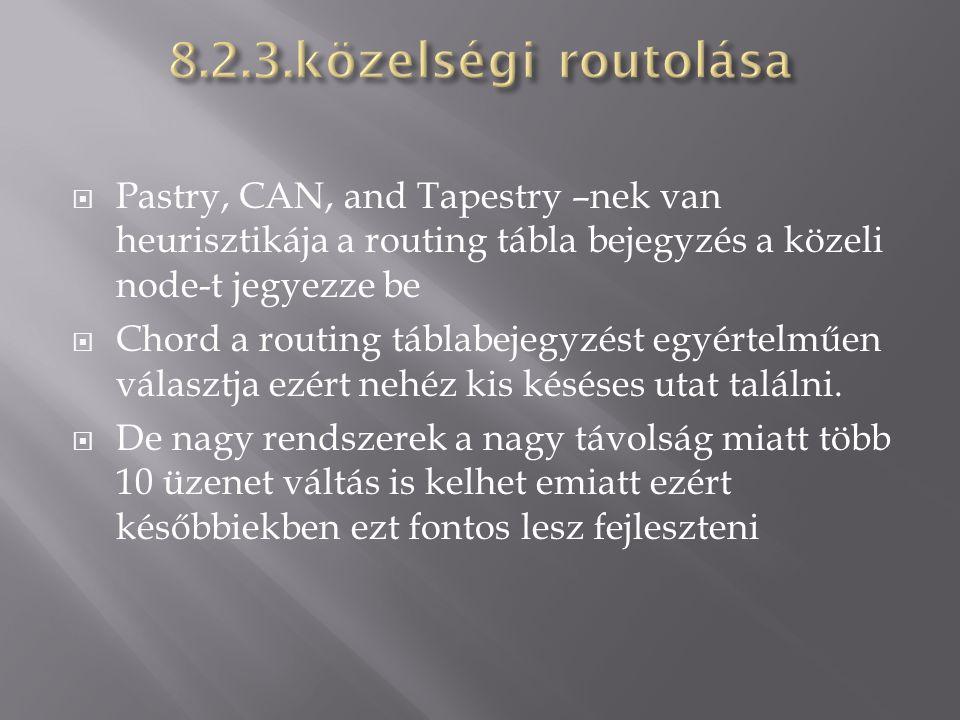  Pastry, CAN, and Tapestry –nek van heurisztikája a routing tábla bejegyzés a közeli node-t jegyezze be  Chord a routing táblabejegyzést egyértelműe