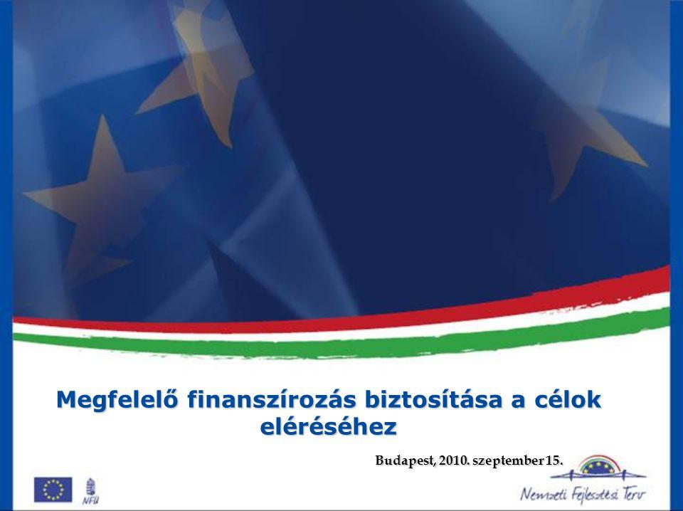 Megfelelő finanszírozás biztosítása a célok eléréséhez Budapest, 2010. szeptember 15.