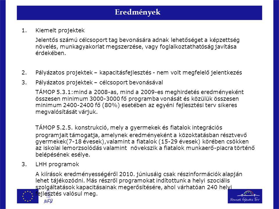 Eredmények 1.Kiemelt projektek Jelentős számú célcsoport tag bevonására adnak lehetőséget a képzettség növelés, munkagyakorlat megszerzése, vagy fogla