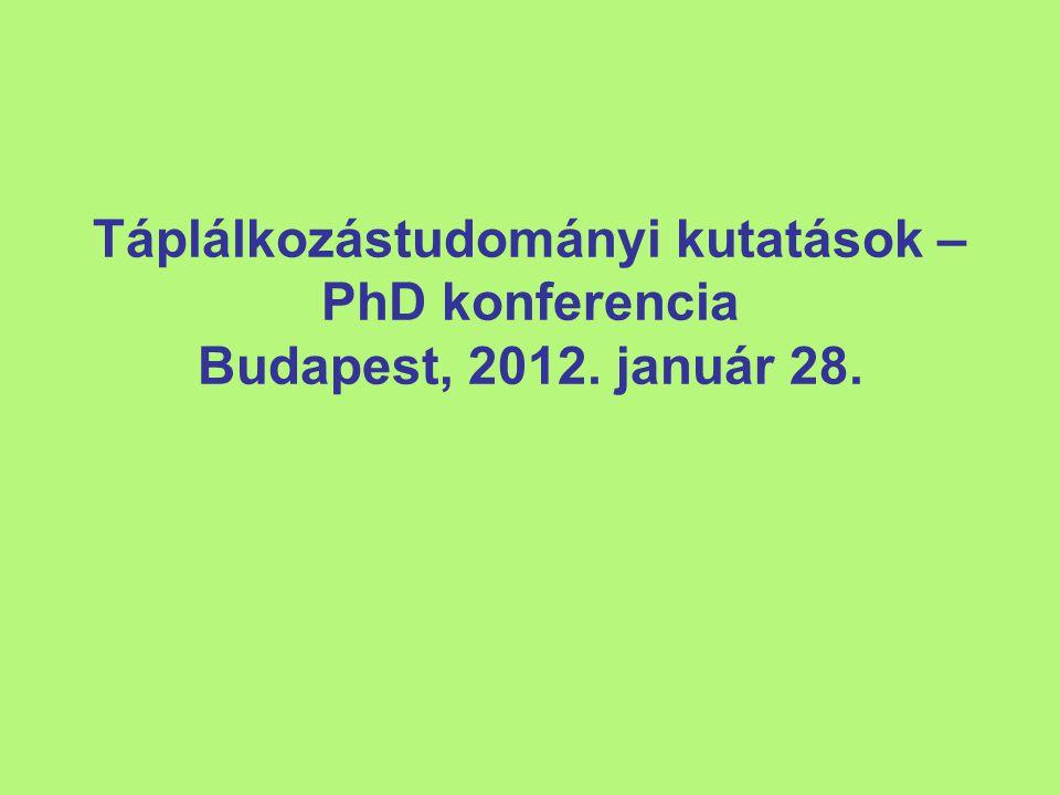 Táplálkozástudományi kutatások – PhD konferencia Budapest, 2012. január 28.