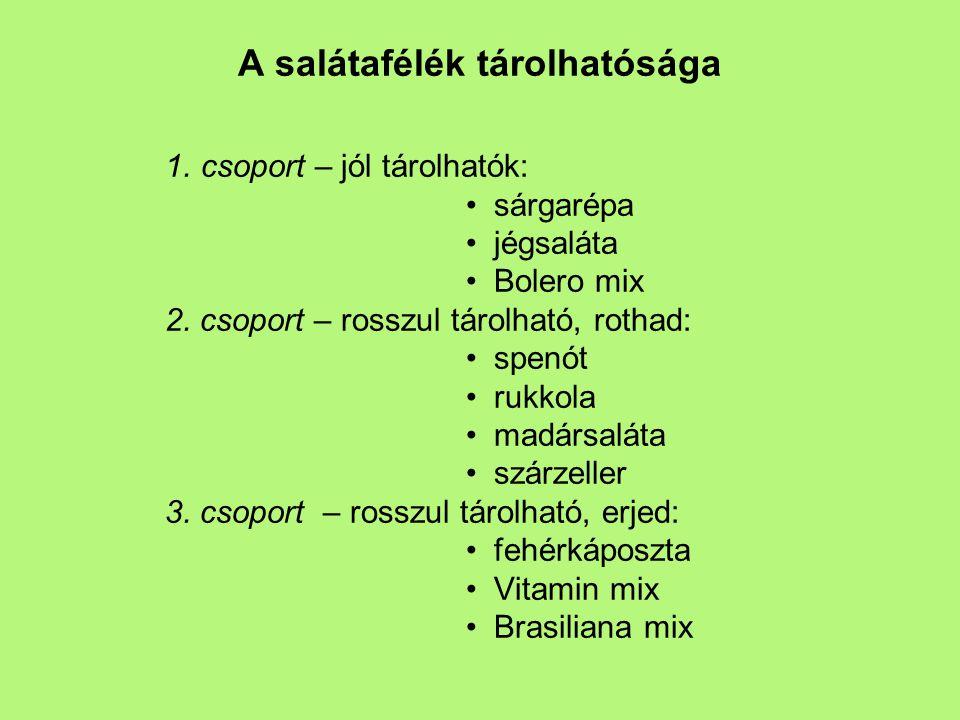A salátafélék tárolhatósága 1.csoport – jól tárolhatók: sárgarépa jégsaláta Bolero mix 2.