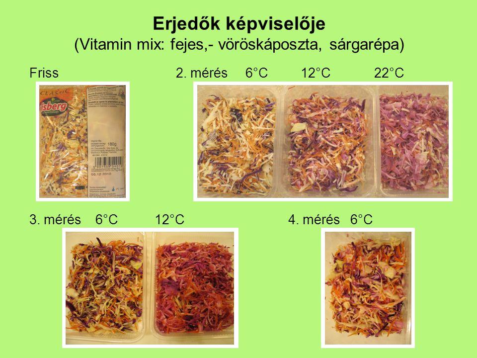 Erjedők képviselője (Vitamin mix: fejes,- vöröskáposzta, sárgarépa) Friss2. mérés 6°C 12°C 22°C 3. mérés 6°C 12°C4. mérés 6°C