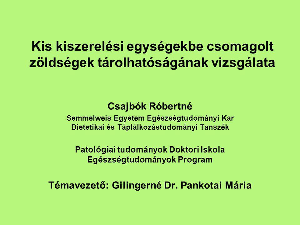 Kis kiszerelési egységekbe csomagolt zöldségek tárolhatóságának vizsgálata Csajbók Róbertné Semmelweis Egyetem Egészségtudományi Kar Dietetikai és Táplálkozástudományi Tanszék Patológiai tudományok Doktori Iskola Egészségtudományok Program Témavezető: Gilingerné Dr.