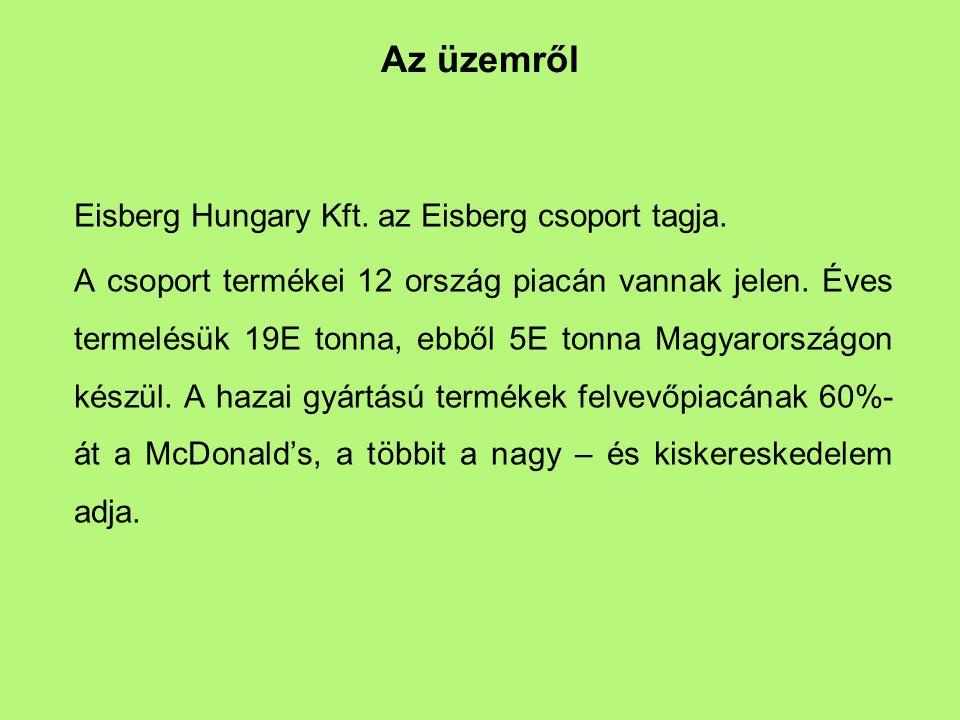Az üzemről Eisberg Hungary Kft. az Eisberg csoport tagja. A csoport termékei 12 ország piacán vannak jelen. Éves termelésük 19E tonna, ebből 5E tonna