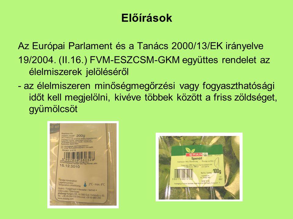 Előírások Az Európai Parlament és a Tanács 2000/13/EK irányelve 19/2004. (II.16.) FVM-ESZCSM-GKM együttes rendelet az élelmiszerek jelöléséről - az él