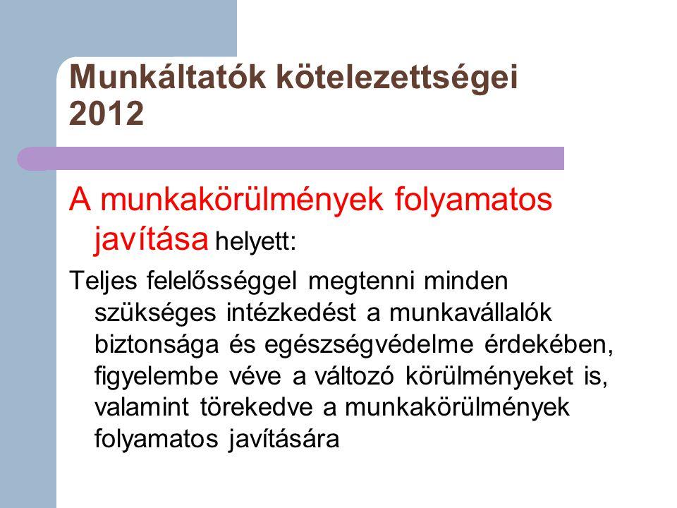 Munkáltatók kötelezettségei 2012 A munkakörülmények folyamatos javítása helyett: Teljes felelősséggel megtenni minden szükséges intézkedést a munkavállalók biztonsága és egészségvédelme érdekében, figyelembe véve a változó körülményeket is, valamint törekedve a munkakörülmények folyamatos javítására