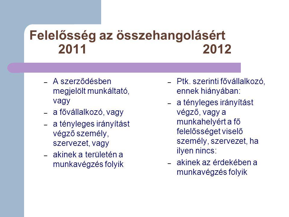 Felelősség az összehangolásért 20112012 – A szerződésben megjelölt munkáltató, vagy – a fővállalkozó, vagy – a tényleges irányítást végző személy, szervezet, vagy – akinek a területén a munkavégzés folyik – Ptk.