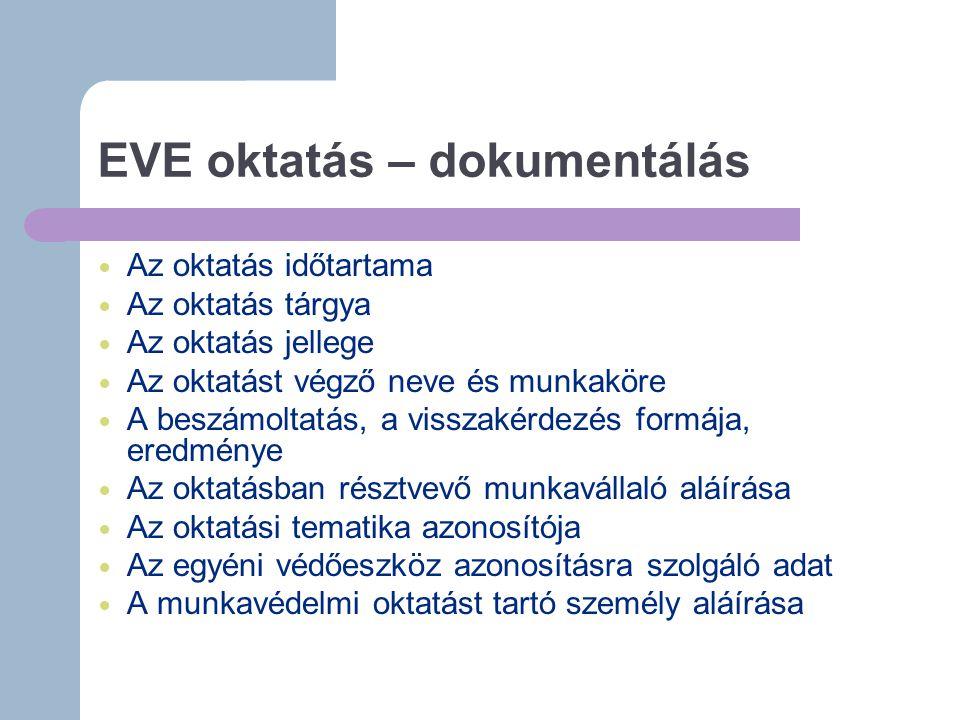 EVE oktatás – dokumentálás Az oktatás időtartama Az oktatás tárgya Az oktatás jellege Az oktatást végző neve és munkaköre A beszámoltatás, a visszakérdezés formája, eredménye Az oktatásban résztvevő munkavállaló aláírása Az oktatási tematika azonosítója Az egyéni védőeszköz azonosításra szolgáló adat A munkavédelmi oktatást tartó személy aláírása