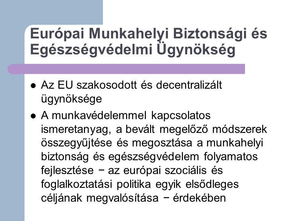 Európai Munkahelyi Biztonsági és Egészségvédelmi Ügynökség Az EU szakosodott és decentralizált ügynöksége A munkavédelemmel kapcsolatos ismeretanyag, a bevált megelőző módszerek összegyűjtése és megosztása a munkahelyi biztonság és egészségvédelem folyamatos fejlesztése − az európai szociális és foglalkoztatási politika egyik elsődleges céljának megvalósítása − érdekében