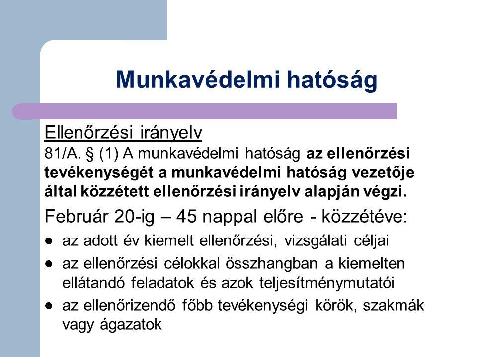 Munkavédelmi hatóság Ellenőrzési irányelv 81/A.