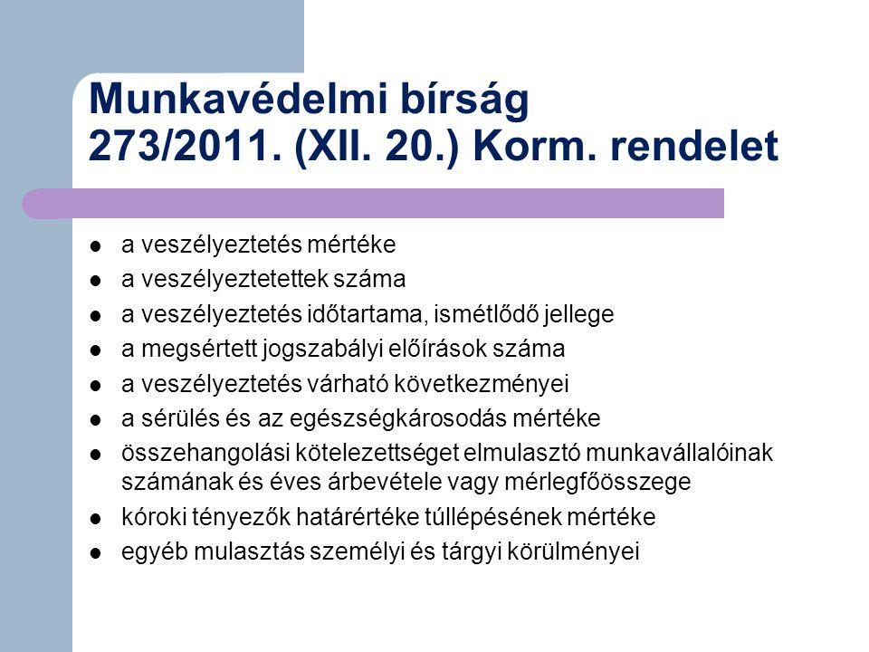 Munkavédelmi bírság 273/2011.(XII. 20.) Korm.