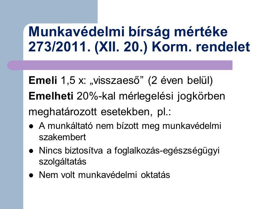 Munkavédelmi bírság mértéke 273/2011.(XII. 20.) Korm.