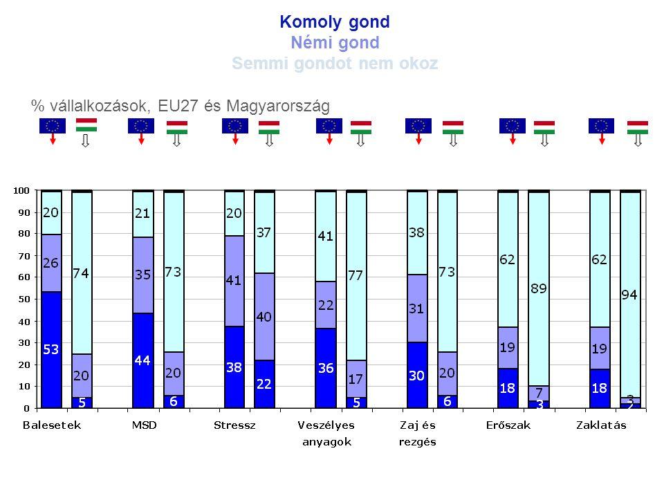 Komoly gond Némi gond Semmi gondot nem okoz % vállalkozások, EU27 és Magyarország