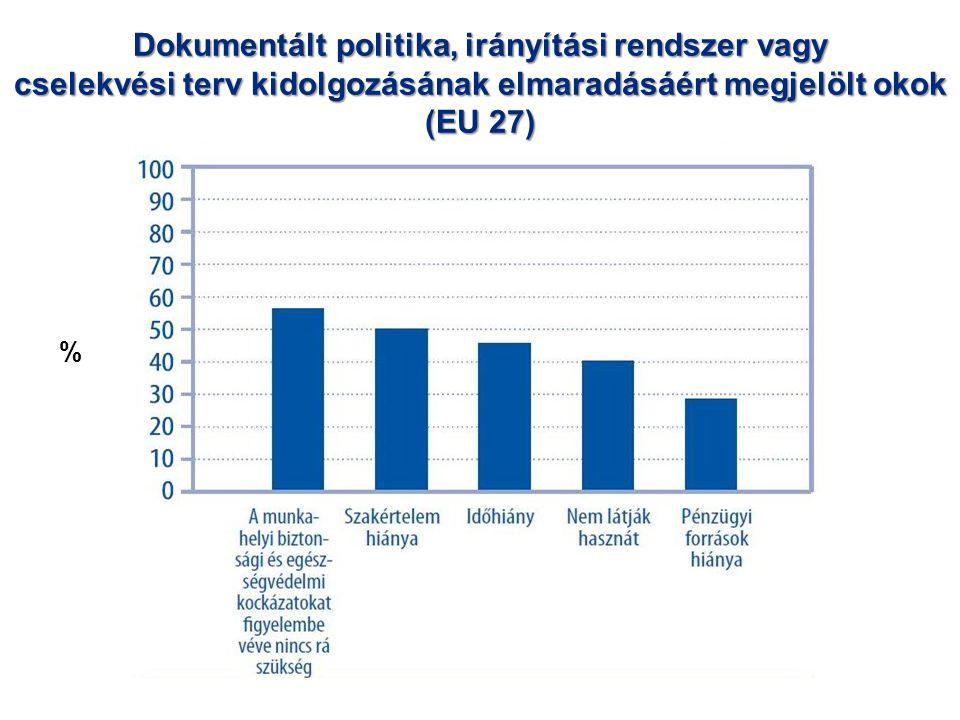 Dokumentált politika, irányítási rendszer vagy cselekvési terv kidolgozásának elmaradásáért megjelölt okok (EU 27) %