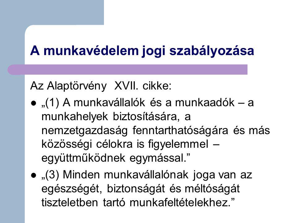 A munkavédelem jogi szabályozása Az Alaptörvény XVII.