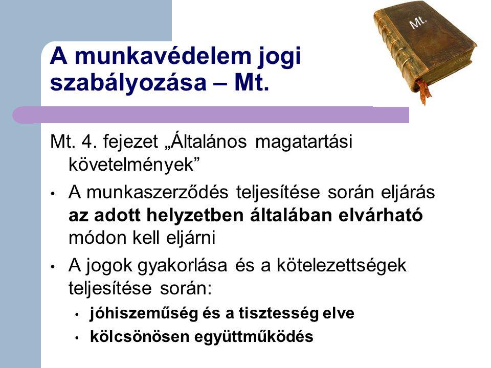 A munkavédelem jogi szabályozása – Mt.Mt. 4.