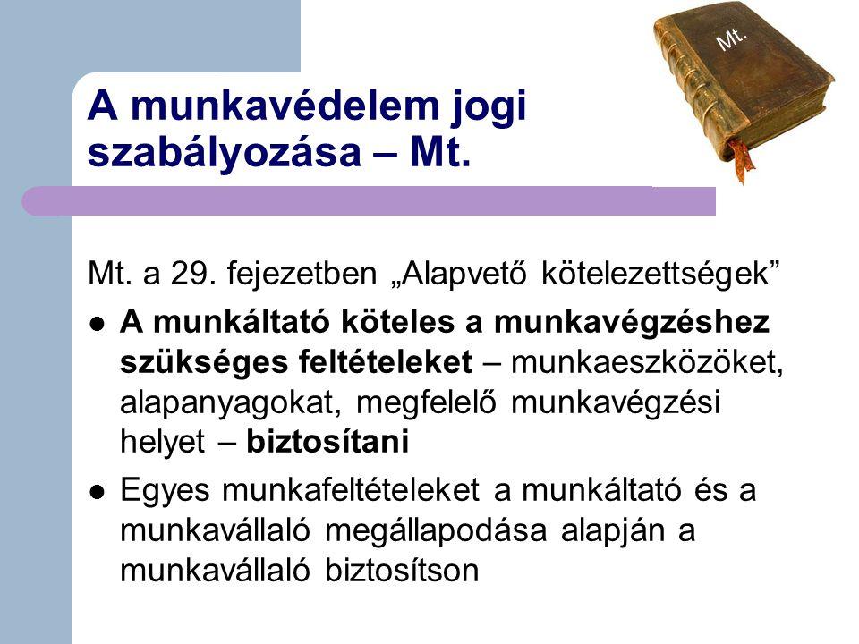 A munkavédelem jogi szabályozása – Mt.Mt. a 29.