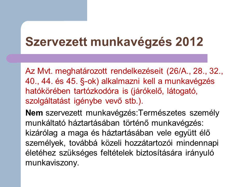 Szervezett munkavégzés 2012 Az Mvt.meghatározott rendelkezéseit (26/A., 28., 32., 40., 44.