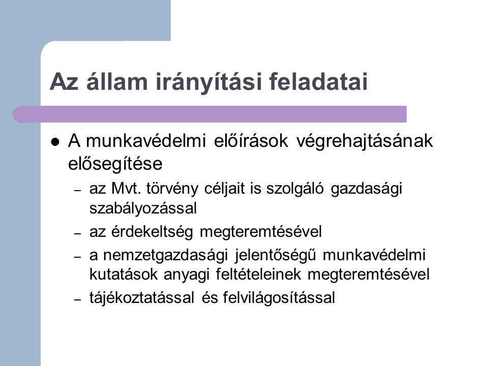 Az állam irányítási feladatai A munkavédelmi előírások végrehajtásának elősegítése – az Mvt.