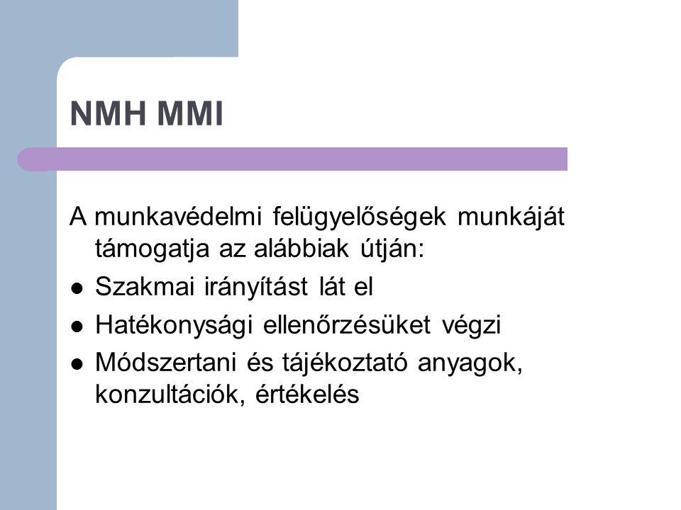 NMH MMI A munkavédelmi felügyelőségek munkáját támogatja az alábbiak útján: Szakmai irányítást lát el Hatékonysági ellenőrzésüket végzi Módszertani és tájékoztató anyagok, konzultációk, értékelés