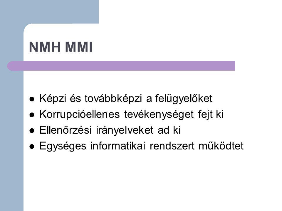 NMH MMI Képzi és továbbképzi a felügyelőket Korrupcióellenes tevékenységet fejt ki Ellenőrzési irányelveket ad ki Egységes informatikai rendszert működtet