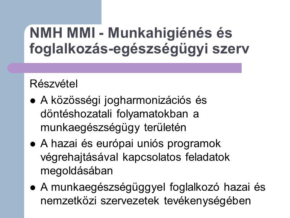 NMH MMI - Munkahigiénés és foglalkozás-egészségügyi szerv Részvétel A közösségi jogharmonizációs és döntéshozatali folyamatokban a munkaegészségügy területén A hazai és európai uniós programok végrehajtásával kapcsolatos feladatok megoldásában A munkaegészségüggyel foglalkozó hazai és nemzetközi szervezetek tevékenységében