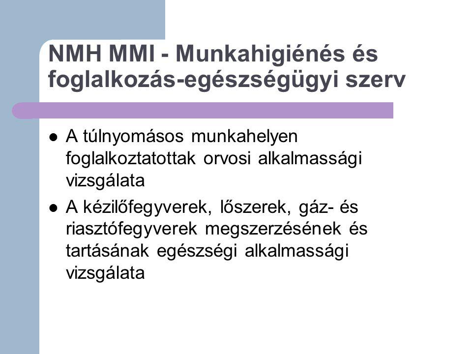 NMH MMI - Munkahigiénés és foglalkozás-egészségügyi szerv A túlnyomásos munkahelyen foglalkoztatottak orvosi alkalmassági vizsgálata A kézilőfegyverek, lőszerek, gáz- és riasztófegyverek megszerzésének és tartásának egészségi alkalmassági vizsgálata