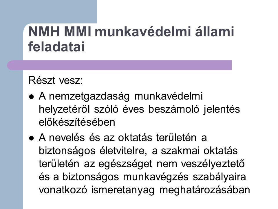 NMH MMI munkavédelmi állami feladatai Részt vesz: A nemzetgazdaság munkavédelmi helyzetéről szóló éves beszámoló jelentés előkészítésében A nevelés és az oktatás területén a biztonságos életvitelre, a szakmai oktatás területén az egészséget nem veszélyeztető és a biztonságos munkavégzés szabályaira vonatkozó ismeretanyag meghatározásában