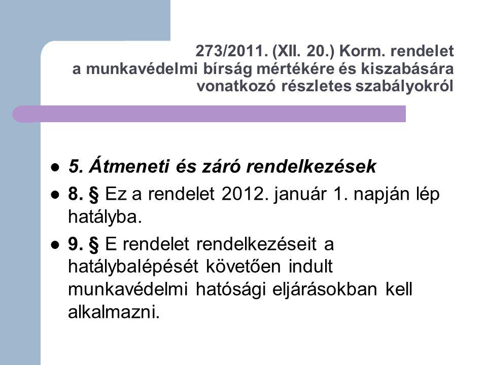 273/2011.(XII. 20.) Korm.