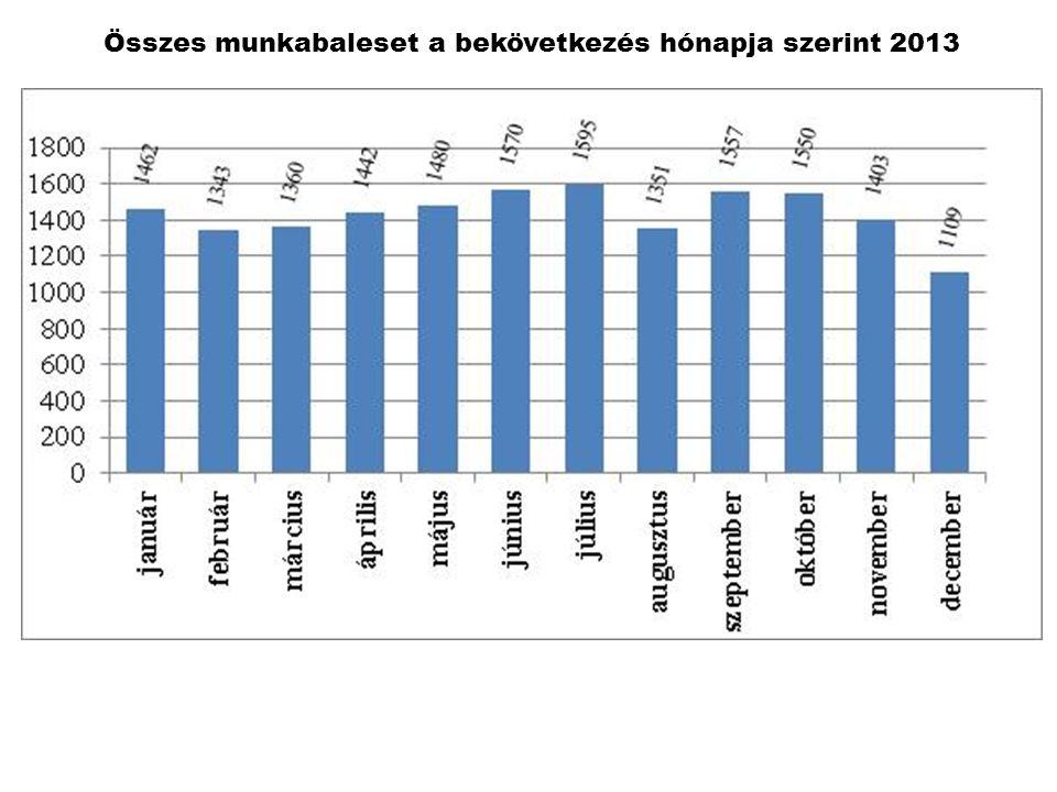 Összes munkabaleset a bekövetkezés hónapja szerint 2013