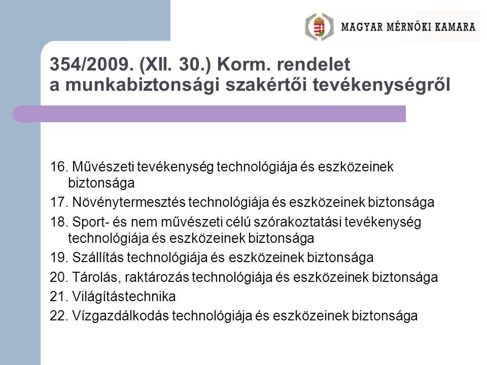 354/2009.(XII. 30.) Korm. rendelet a munkabiztonsági szakértői tevékenységről 16.