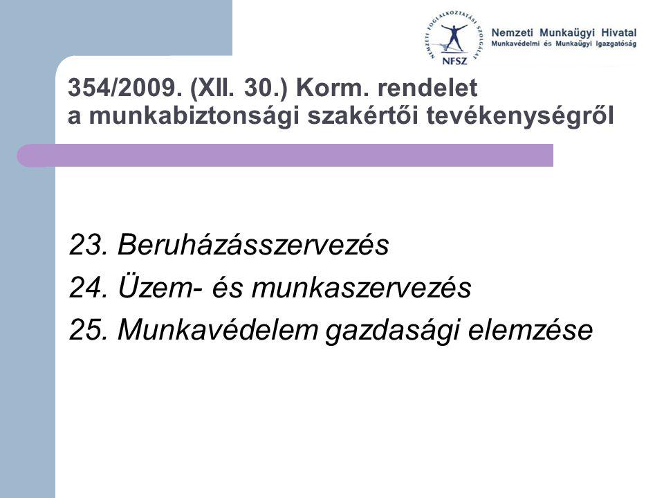 354/2009.(XII. 30.) Korm. rendelet a munkabiztonsági szakértői tevékenységről 23.