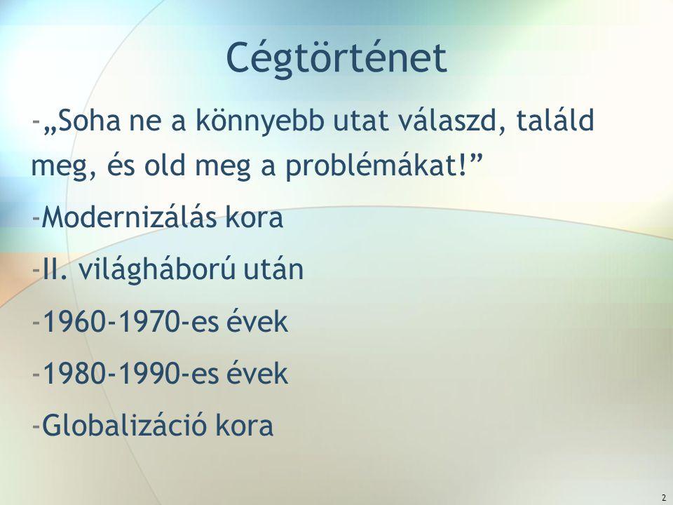"""2 Cégtörténet -""""Soha ne a könnyebb utat válaszd, találd meg, és old meg a problémákat! -Modernizálás kora -II."""