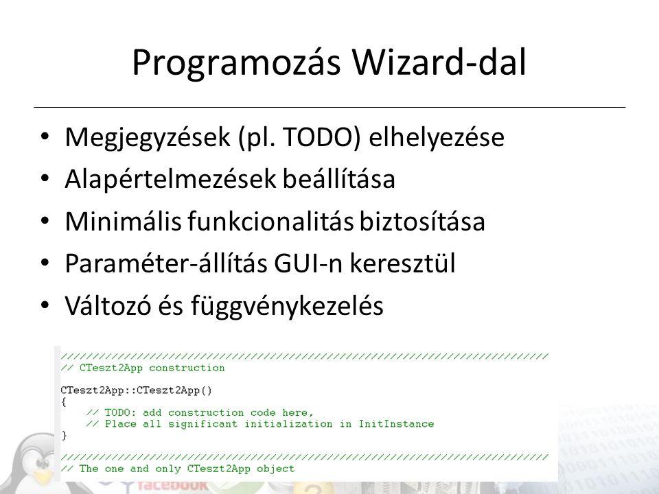 Programozás Wizard-dal Megjegyzések (pl.