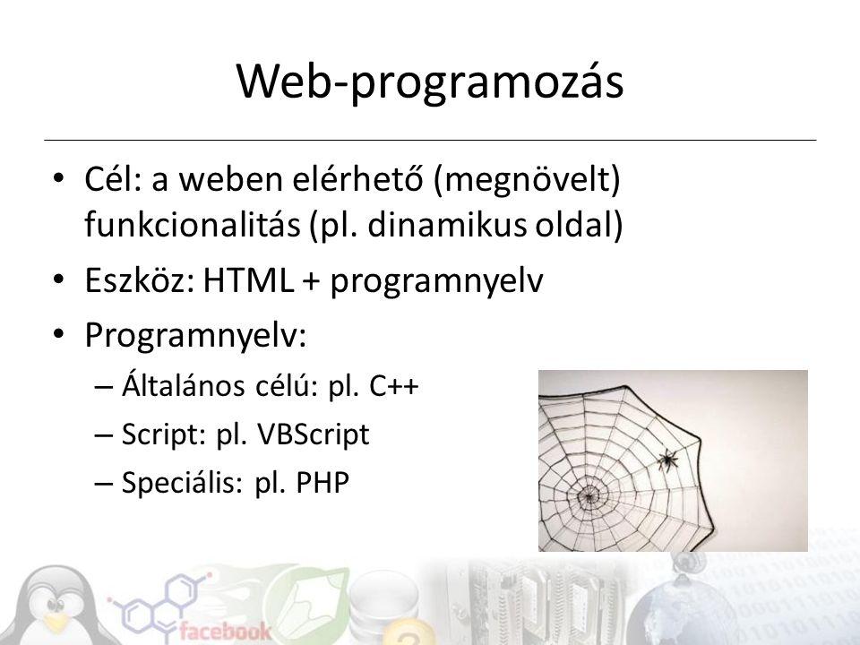 Web-programozás Cél: a weben elérhető (megnövelt) funkcionalitás (pl.
