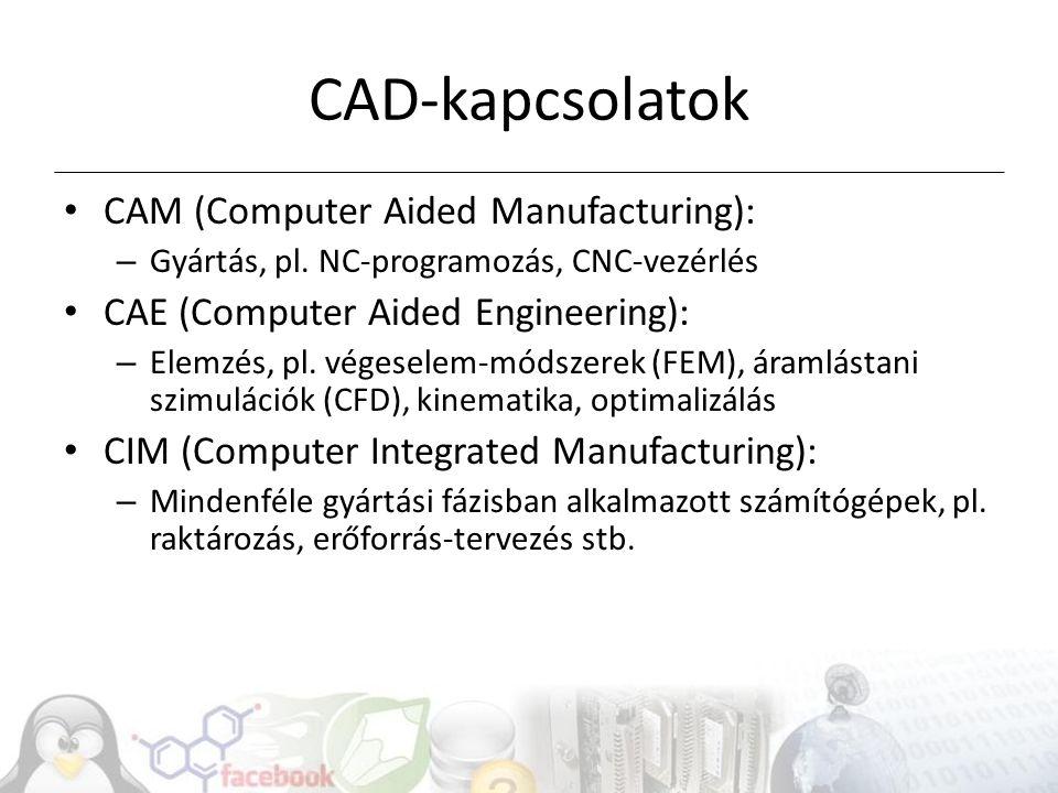 CAD-kapcsolatok CAM (Computer Aided Manufacturing): – Gyártás, pl.