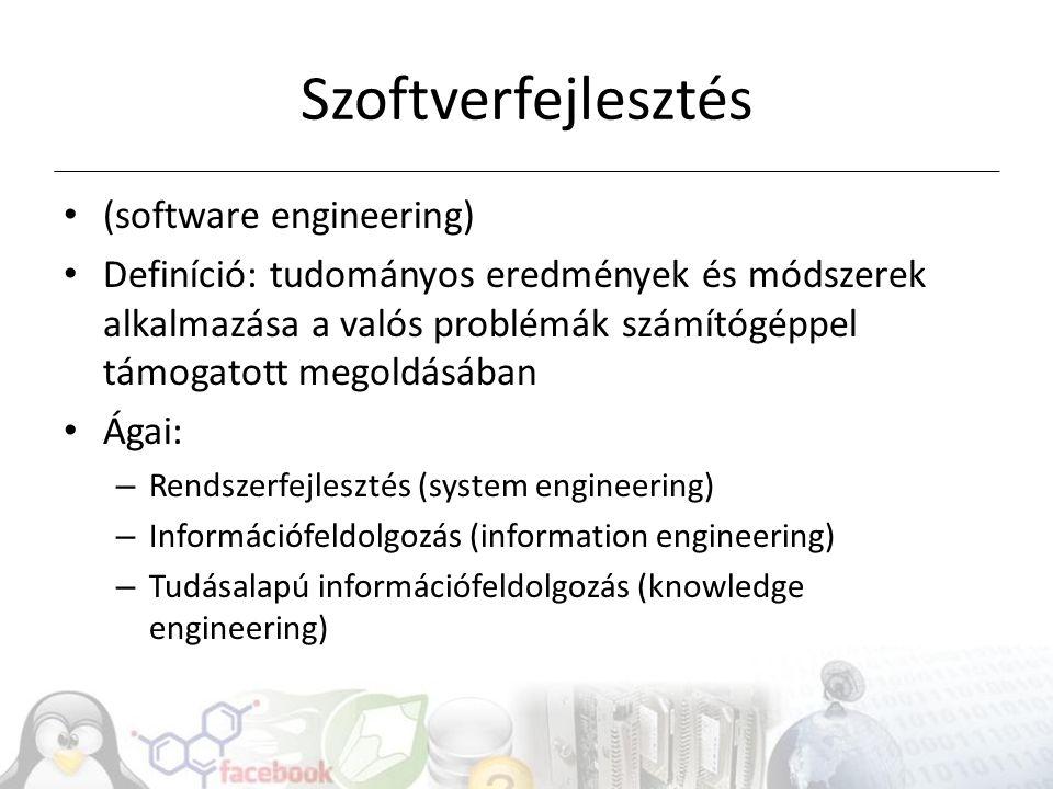 Szoftverfejlesztés (software engineering) Definíció: tudományos eredmények és módszerek alkalmazása a valós problémák számítógéppel támogatott megoldásában Ágai: – Rendszerfejlesztés (system engineering) – Információfeldolgozás (information engineering) – Tudásalapú információfeldolgozás (knowledge engineering)