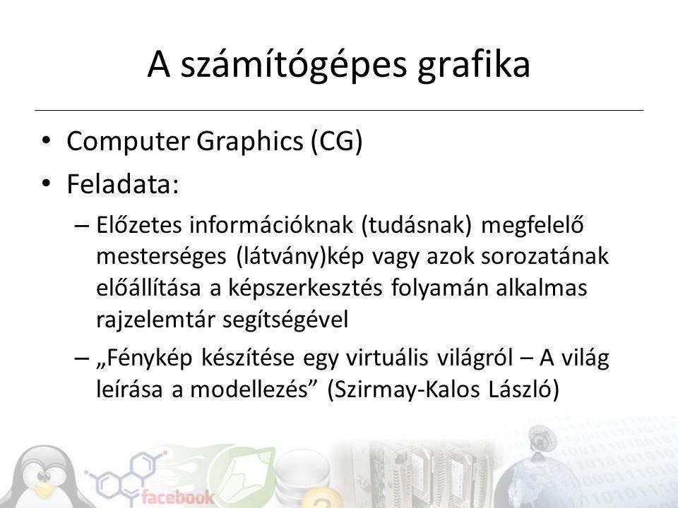 A számítógépes grafika Computer Graphics (CG) Feladata: – Előzetes információknak (tudásnak) megfelelő mesterséges (látvány)kép vagy azok sorozatának