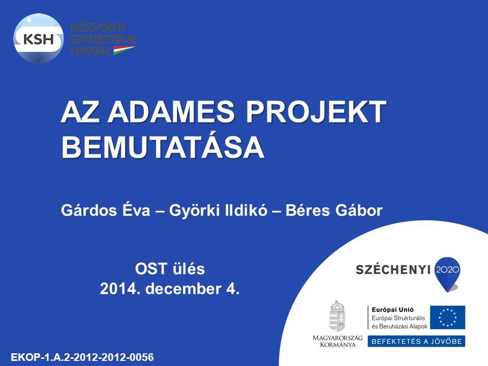 AZ ADAMES PROJEKT BEMUTATÁSA EKOP-1.A.2-2012-2012-0056 Gárdos Éva – Györki Ildikó – Béres Gábor OST ülés 2014.