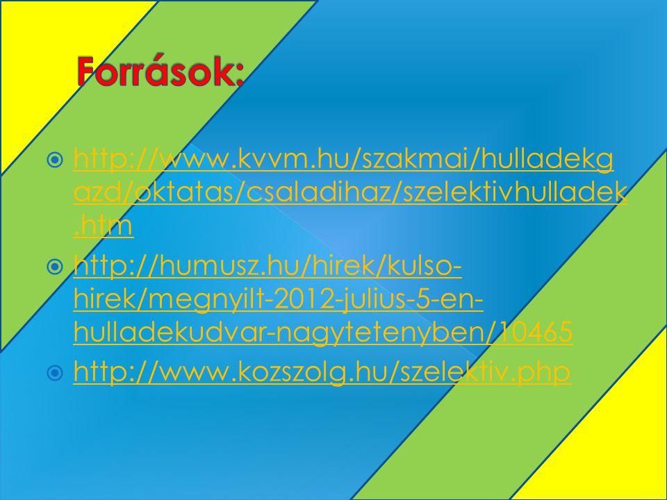  http://www.kvvm.hu/szakmai/hulladekg azd/oktatas/csaladihaz/szelektivhulladek.htm http://www.kvvm.hu/szakmai/hulladekg azd/oktatas/csaladihaz/szelektivhulladek.htm  http://humusz.hu/hirek/kulso- hirek/megnyilt-2012-julius-5-en- hulladekudvar-nagytetenyben/10465 http://humusz.hu/hirek/kulso- hirek/megnyilt-2012-julius-5-en- hulladekudvar-nagytetenyben/10465  http://www.kozszolg.hu/szelektiv.php http://www.kozszolg.hu/szelektiv.php
