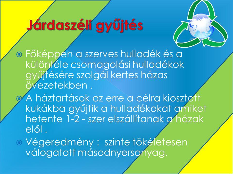 Főképpen a szerves hulladék és a különféle csomagolási hulladékok gyűjtésére szolgál kertes házas övezetekben.