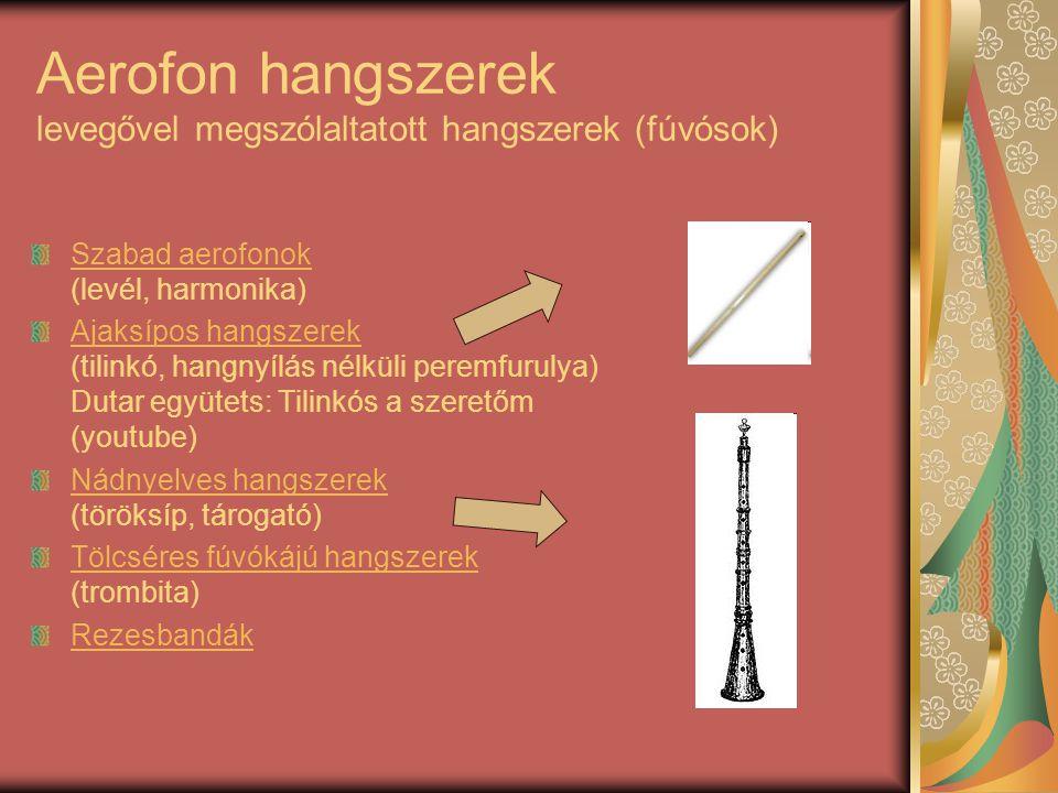 Aerofon hangszerek levegővel megszólaltatott hangszerek (fúvósok) Szabad aerofonok Szabad aerofonok (levél, harmonika) Ajaksípos hangszerek Ajaksípos